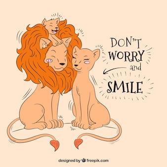 Handgetekende achtergrond van leeuwfamilie