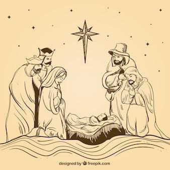 Handgetekende kerststal met de wijzen