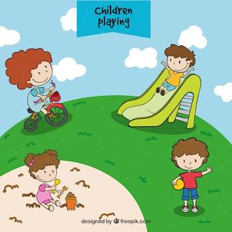 Handgetekende kinderen die in het park spelen