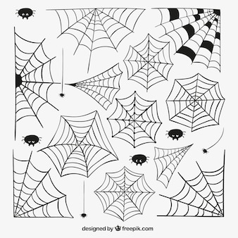 Handgetekende spinnenwebben