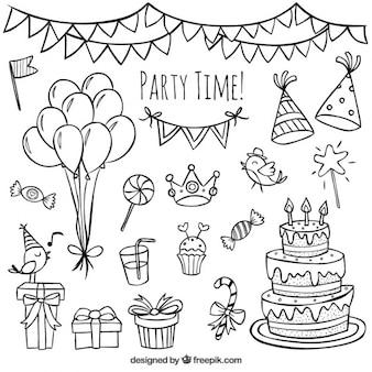 handgetekende verjaardag doodles