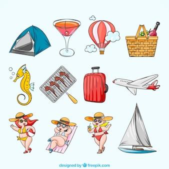Handgetekende verzameling van decoratieve zomerelementen