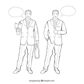 Handgetekende zakenman tekens met spraak bellen