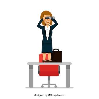 Happy zakenvrouw met een verrekijker