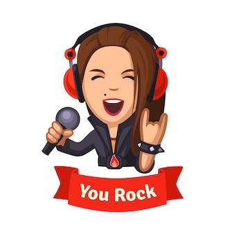 Hard rockende zangeresmeisje
