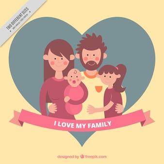 Hart achtergrond met vriendelijke verenigd familie
