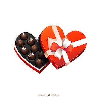 Hartvormige doos chocolade