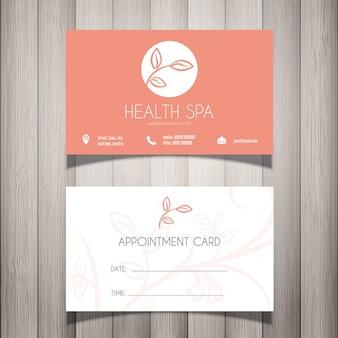 Health Spa of schoonheidsspecialist adreskaartje afspraak card
