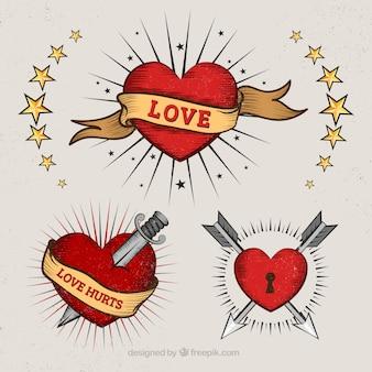 Hearts in tattoo stijl