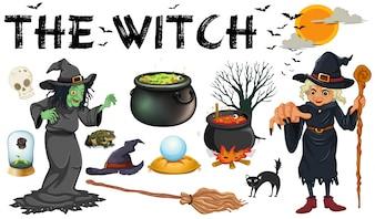 Heks en donkere magische voorwerpen illustratie