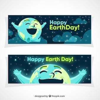 Heldere vrolijke wereld banners