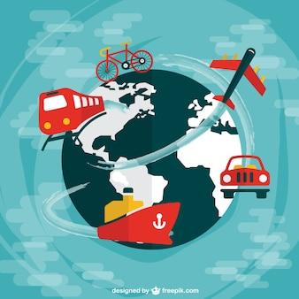 Hele wereld reizen platte ontwerp