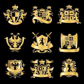 Heraldische gouden emblemen