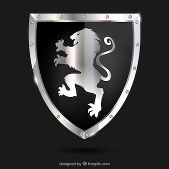 Heraldische schild met zilveren leeuw