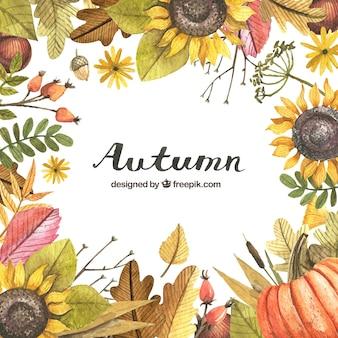 Herfst achtergrond met een geschilderd frame met aquarellen
