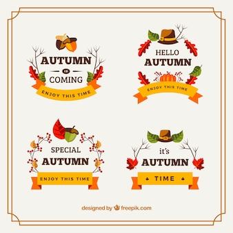 Herfst badge collectie met vlak ontwerp