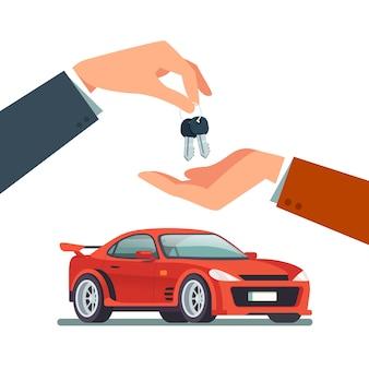 Het kopen, huren van een nieuwe of gebruikte snelle sportwagen