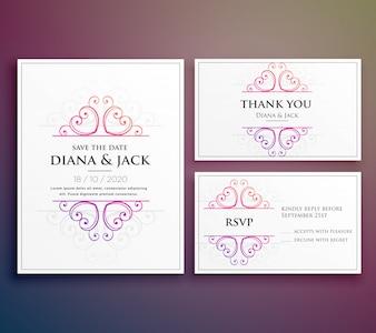 Het ontwerp van de huwelijkskaartuitnodiging met dank u kaart