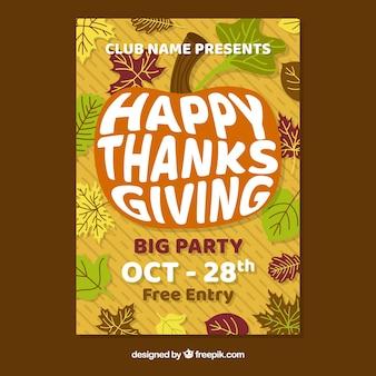 Het poster van de dankzeggingpartij