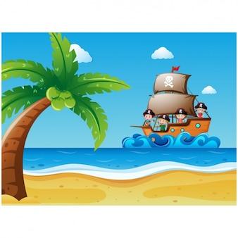Het schip die naar een eiland achtergrond