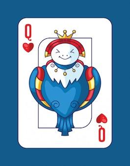 Het spelen van poker met koningin van de harten
