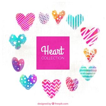 Het verzamelen van aquarel harten