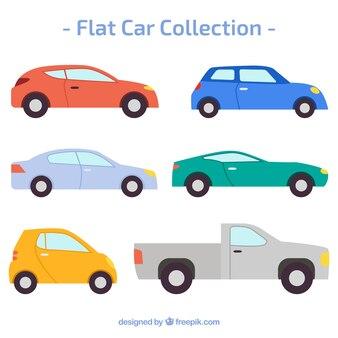 Het verzamelen van auto's in plat design