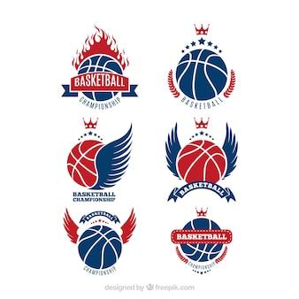 Het verzamelen van blauwe en rode basketbal logo