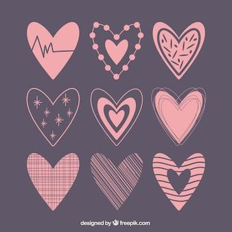 Het verzamelen van de hand getekende harten