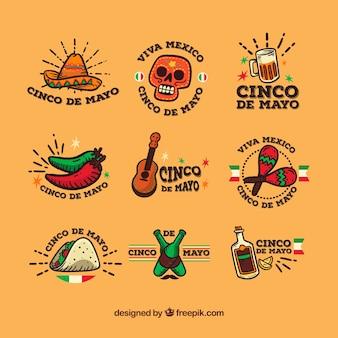 Het verzamelen van fantastische labels in platte ontwerp voor cinco de mayo