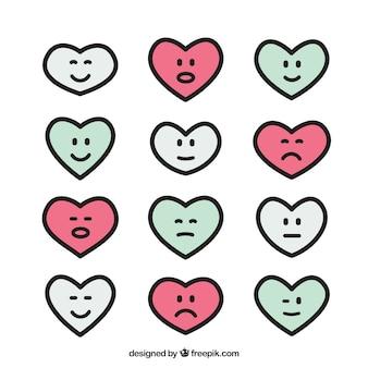 Het verzamelen van harten met verschillende uitdrukkingen