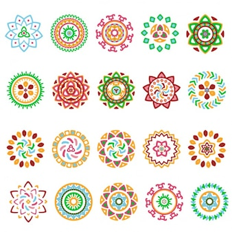 Het verzamelen van heldere kleurrijke geometrische round etnische decoratieve elementen