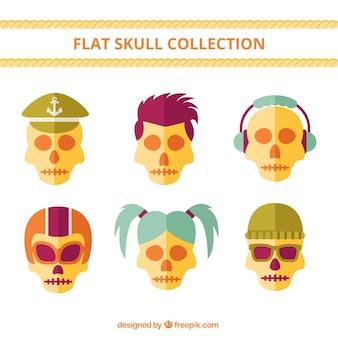 Het verzamelen van moderne schedels in plat design