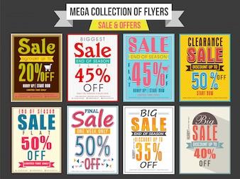 Het verzamelen van verkoop en korting bieden vliegers, sjablonen en banners ontwerp
