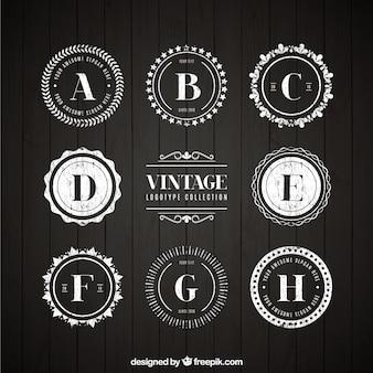 Het verzamelen van vintage ronde logo met een brief