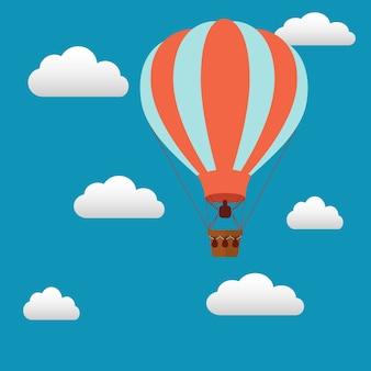 Heteluchtballon achtergrond ontwerp