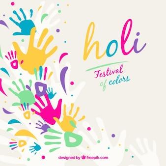 Holi achtergrond met kleurrijke handafdrukken