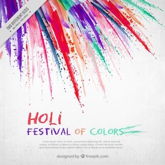Holi festival achtergrond met penseelstreken