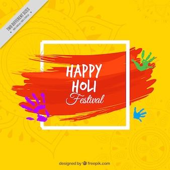 Holi festival gele achtergrond met rode penseelstreek