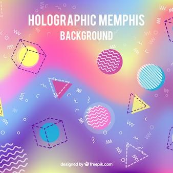 Holografische achtergrond met geometrische vormen