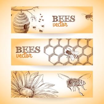 Honingbij bijenkorf kam en bloemenschets banners set geïsoleerde vectorillustratie.