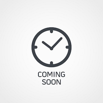 Horloge pictogram met binnenkort tekst