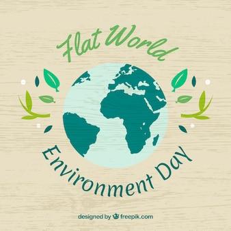 Houten achtergrond met platte planeet dag wereld milieu