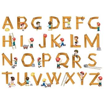 Houten alfabet ontwerp