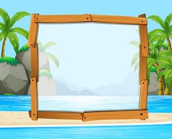 Houten frame met oceaan op de achtergrond