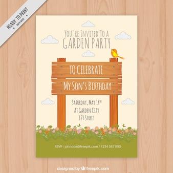 Houten uithangbord garden party uitnodiging