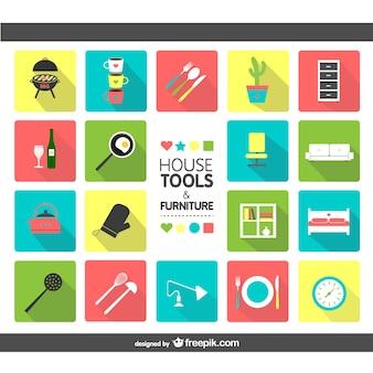 Huis hulpmiddelen en meubilair pictogrammen