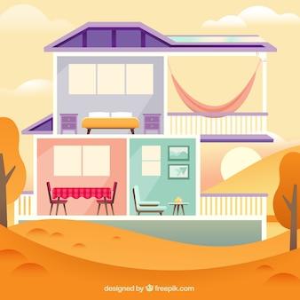 Huis in cut oog met herfst landschap