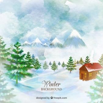 Huis op een landschap aquarel achtergrond