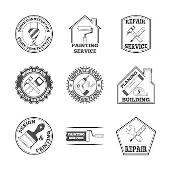 Huis reparatie panting service kwaliteit gebouw installatie ontwerp labels set met zwarte tools iconen geïsoleerde vector illustratie